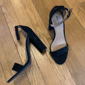 Black strappy toe 4-in heels